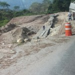 Road washed away, repair work
