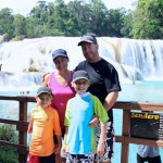 Great family picture at the base of the falls